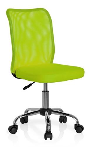 hjh OFFICE 685972 Sedia da ufficio per bambini KIDDY NET tessuto mesh verde, senza braccioli, regolabile in altezza, schienale traspirante, base stabile in acciaio cromato