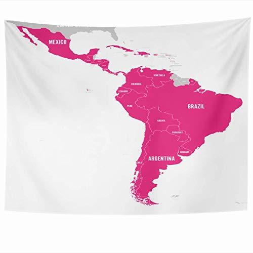Tapices para colgar en la pared Español en Uruguay Sur de Cuba Mapa político de la Tierra Atlas Mapa de cartografía de viajes Francés Chile Perú Tapiz latino Manta de pared Decoración del hogar Sala d
