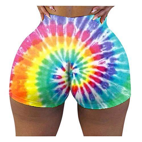 Dwevkeful Damen Yoga-Shorts mit hoher Taille Lifting strukturierte Shorts Bauchkontrolle Batikfärbung Strand Hotpants Sport Training Gym Kurze Hose Sweatpants Radlerhose Laufshorts