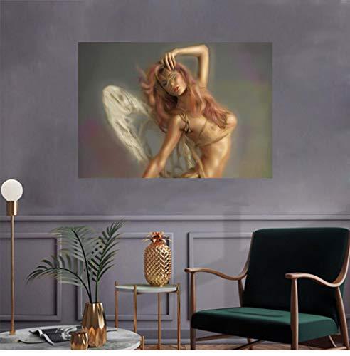 Mädchen Engelsflügel Wand Bilder Anime Poster Sexy Frau Körper Bilder Bild Nordic Vintage Bild Leinwand Wohnzimmer Schlafzimmer Dekor Bilder 40X60cm No Frame