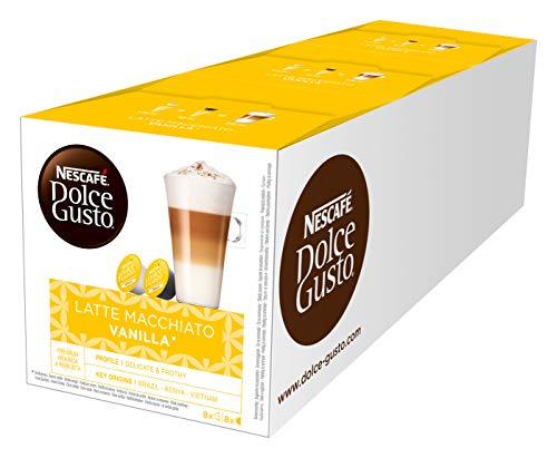 NESCAFÉ Dolce Gusto Latte Macchiato Vanilla | 48 Kaffeekapseln | Feines Vanille Aroma und leckerer Milchschaum | Arabica Robusta Mischung | Aromaversiegelte Kapseln | 3er Pack (3 x 16 Kapseln)