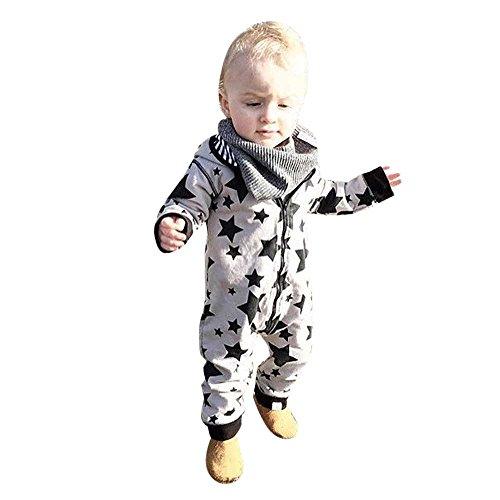 PINEsong PINEsong Baby Junge Mädchen Kinder Drucküberzug Spielanzug Overall Kleidung Outfit (12/18M, Grau)