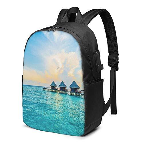 WEQDUJG Mochila Portatil 17 Pulgadas Mochila Hombre Mujer con Puerto USB, Maldivas Resort Mochila para El Laptop para Ordenador del Trabajo Viaje