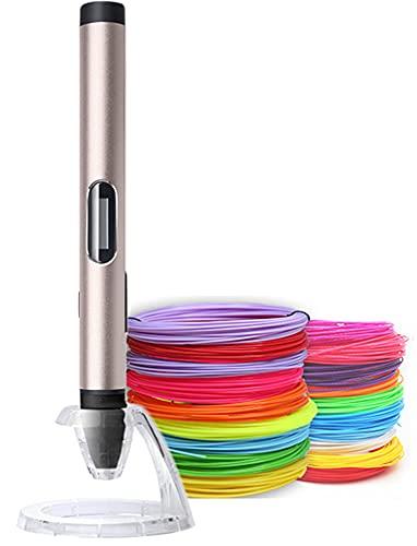 Xyfw 3D Pen with 100M Filament, 3D Pens 3D Printer Pen 1.75Mm Abs/Pla Filament Metal Material USB Charging LED Display,A