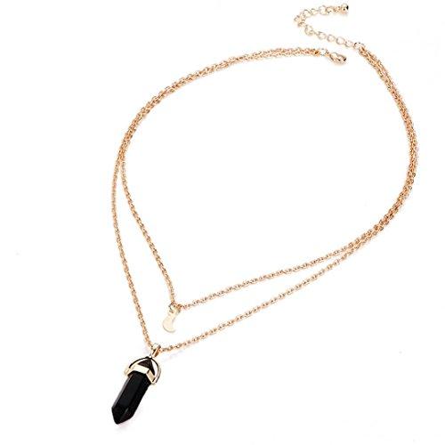 Hunpta Frauen mehrschichtigen unregelmäßige Crystal Opale Anhänger Halskette Collier Kette (Schwarz)