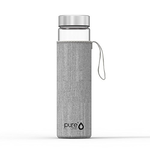 PureOne Trinkflasche aus Borosilikat-Glas 750ml   BPA, BPS, Weichmacher-Frei   Hitzebeständig - Für Heißgetränke, Tee, Smoothies   Ideal für Sport, Wandern, Yoga, Büro   Neopren-Schutzhülle