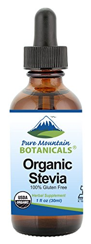 Organic Liquid Stevia Sweetener – Alcohol Free and Kosher Sugar Substitute - 1oz Glass Bottle