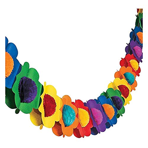 WOVELOT Paper Garland Decorations, Mexican Banner Hibiscus Garland Flower Banner Tropical Paper Flowers Luau Party Decorations
