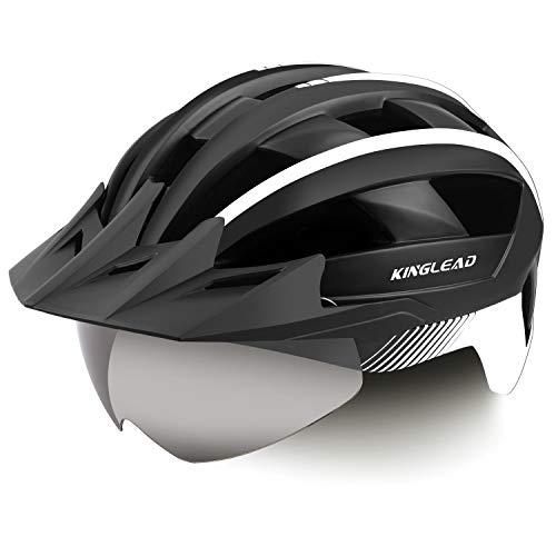 Kinglead Fahrradhelm mit Sicherheitslicht und Schutzvisier, Fahrradhelm Unisex CE zertifiziert für Radfahren im Freien, Sicherheit Sportive (Schwarz / Weiß)