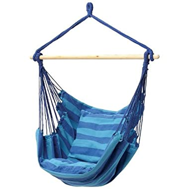 Swing Hanging Hammock Chair With Two Cushions (Blue)