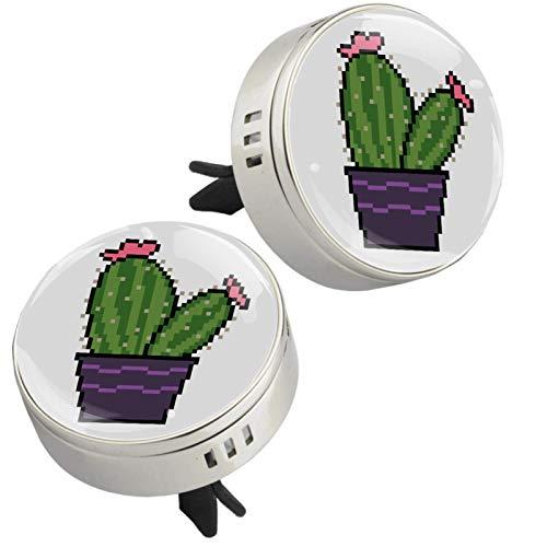 Z&Q Auto Lufterfrischer Lüftung Kaktusfeige Pflanzen Auto Aromatherapie Zinklegierung Mini Auto Luftreiniger Car Diffusor mit 4 PE zusätzlichen Pads Silber 33.8mmX46.4mm