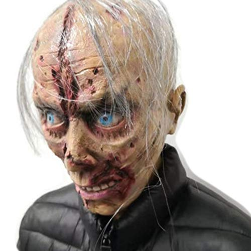 EXUVIATE Latex Horror Maskers Halloween Kostuum voor Partij Enge Hoofd Masker Gezicht voor Volwassene/Oude Man Masker met Haar voor Halloween Party
