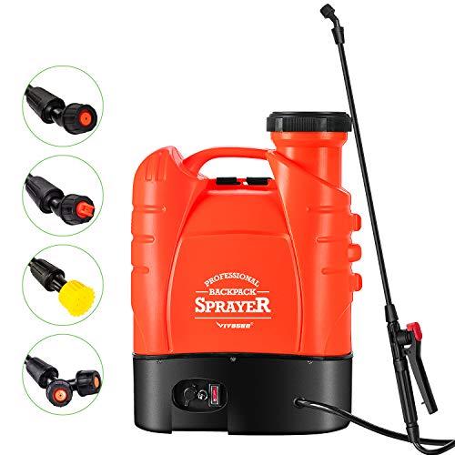 VIVOSUN 4 Gallon Battery Powered Backpack Sprayer Electric Pump Sprayer with Four Nozzles for Garden...