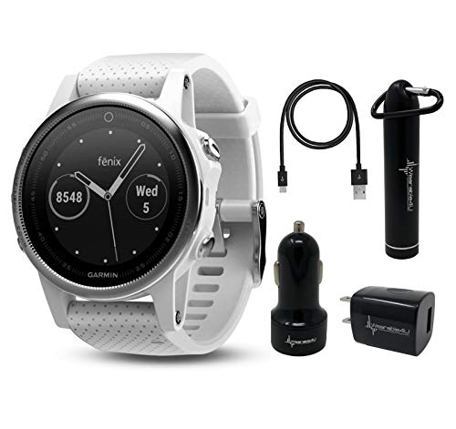 Garmin Fenix 5S Premium Multisport GPS Watch with Maps, Music and Contactless Payments and Wearable4U Ultimate Power Pack Bundle (White with Carrara White Band)
