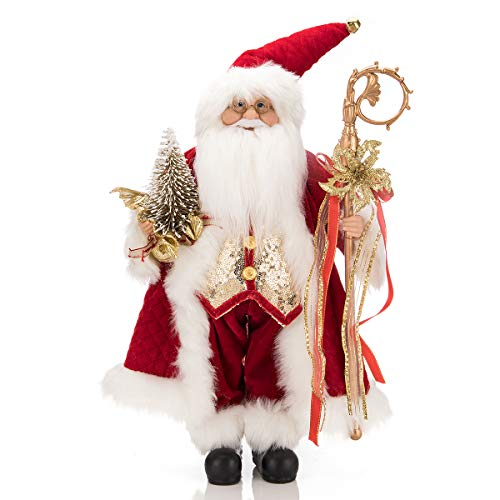 ARCCI 18 Inch Santa Claus Christmas Figurine, Standing Santa Figure Holiday Decoration with Gift Bag - Red