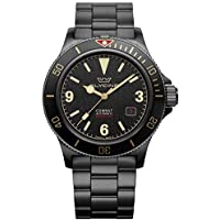 Glycine Combat Vintage Men's Analog Automatic Watch with Stainless Steel Bracelet (Black)