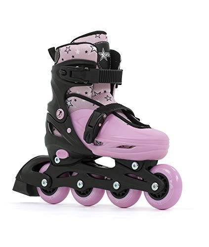 Sfr Skates SFR Plasma Adjustable Inline Skates Pattini Pattini Unisex Bambini, Nero/Rosa, 33-37