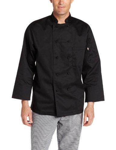 Dickies Men's Francesco Classic Chef Coat, Black, Large