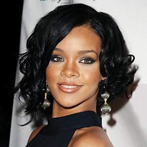 Fleurapance Parrucca da donna extra naturale, corta, di lunghezza media, colore nero, stile bob, elegante, ondulata, sintetica, resistente al calore come capelli veri, alla moda