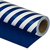WRAPAHOLIC Reversible Wrapping Paper - Navy and Stripes Design for Birthday, Holiday, Wedding, Baby...