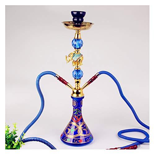 ZHIFENGLIU Hookah De 2 Mangueras, Shisha De Tabaco De Sabor Árabe, Decoración De Elefante De Aleación, Base De Botella De Vidrio Impresa