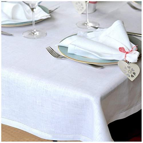 Linen & Cotton Tovaglia da Tavola Bianca Elegante Con Orlo A Giorno in Tessuto Florence - 100% Lino, Bianco (143 x 350 cm) Tovaglia Ricamata Rettangolare da 12 Posti per Cucina Ristorante Matrimonio