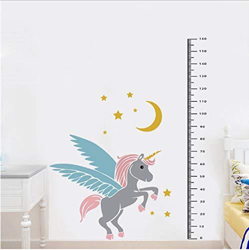 Medidor Regla Habitación para niños Dibujos animados Unicornio Pegatinas de pared Niños Decoración de pared Decoración de la casa Etiqueta engomada del telémetro Etiqueta de crecimiento 160 * 92 cm