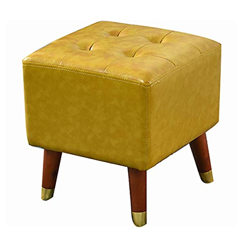 SMTAO Solid Wood Footrest Small Stool, Modern Square Seat Chair Footstool With Legs, Faux Leather Poufs For Living Room Bedroom Home,Yellow,36 * 36 * 40Cm