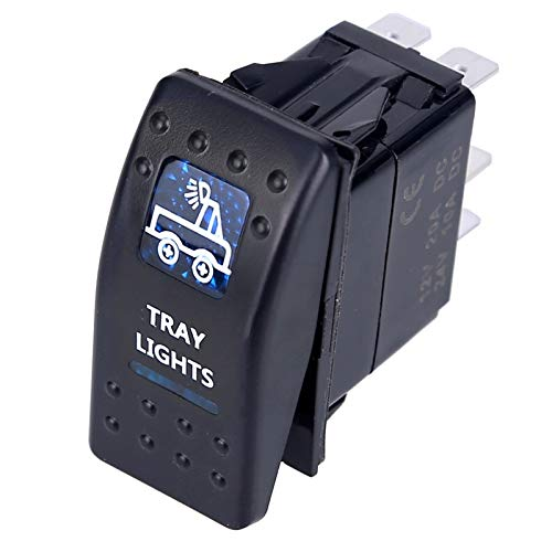 LICHONGUI 1 unid Interruptor de automóvil camión de Barco luz LED Toggle Switch 5Pin Impermeable 12V / 24V Bar Estilo Azul Toggle Rocker Reverse Light Switch (Color : Tray Lights)