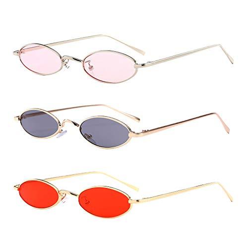 freneci Gafas de Sol Ovaladas Pequeñas de Moda para Hombres de 3 Piezas Gafas de Sol UV400 Gafas