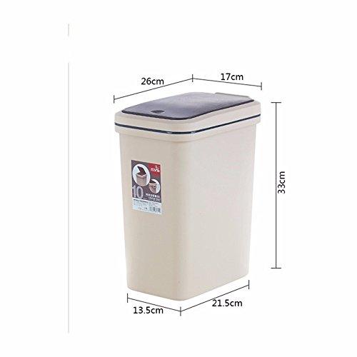 Xiuxiutian Bacs à ordures extérieurs Appuyez sur Le ménage Poubelle Poubelle Guest Chambre Cuisine Toilettes Grandes, 10L