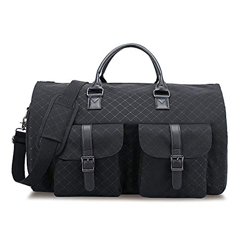 RUIMA Garment Bag 2 in 1 Convertible Travel Handing Duffel Bags Waterproof Suit Carrier Foldable Bag with Shoulder Strap Composite Oxford for Men (Black)
