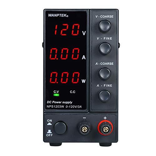 KKmoon Fuente de alimentación NPS1203W 0-120V 0-3A de CC de conmutación Pantalla de 3 dígitos LED de alta precisión ajustable AC 115V / 230V 50 / 60Hz Voltaje y corriente Salida dual regulada