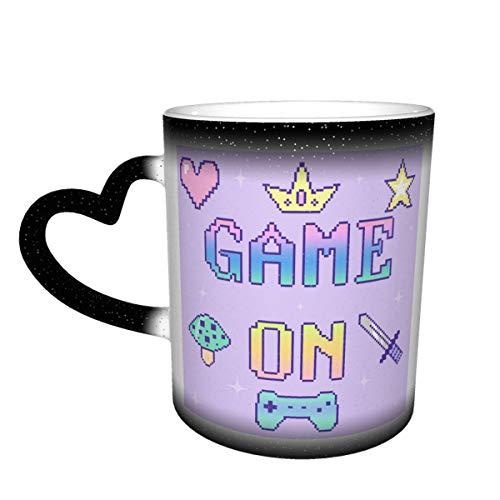 Taza de café de cerámica que cambia el calor, juego en pastel sensible taza de té mágica para café, té, leche o cacao para hombres y mujeres
