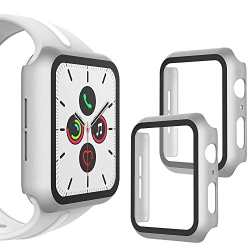 WD&CD 2 Pcs Case Compatible with Apple Watch Series SE/6/5/4 40mm, Buit-in Ultra Thin HD Tempered Glass Screen Protector Protective Cover for iwatch Series SE/6/5/4, Silver2