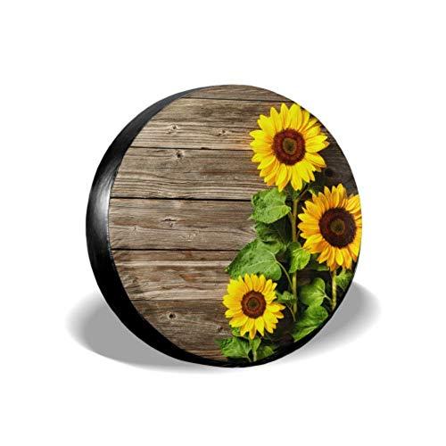 LYMT herfst met zonnebloemen op houten plank aangepaste reservebandafdekking wiel bandenafdekking bandenafdekking geschikt voor Trailer Rv SUV en vele voertuigen 14-17 inch