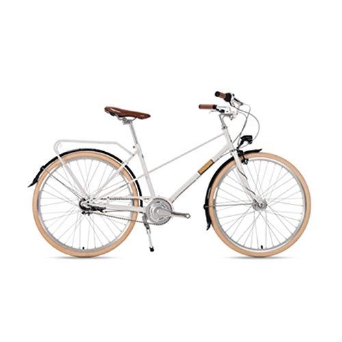 Bicicleta Retro Ligera Señora Vehículo Recreativo Bicicleta Urbana Vehículo Interior De Tres Velocidades Bicicleta para Adultos De 26 Pulgadas,Plata