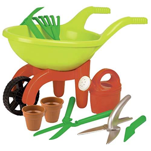 Simba 63229 107137758 - Schubkarre mit Gartenwerkzeug, grün / orange