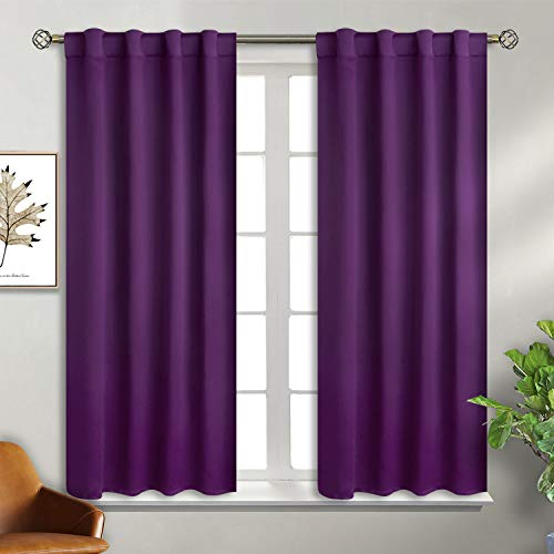 BGment Purple Curtains for Bedroom - 45 inch Rod Pocket and Back Tab Blackout Curtains Thermal Insulated Room Darkening Curtains for Living Room, 2 Window Panels, 38 x 45 Inch