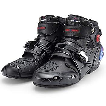 WERT Bottes Moto Bottes de Motocross Robustes pour Hommes sur Route pour Motocross sur la Route Bottines Souples Bottes pour Cavalier,Black-43