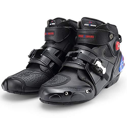 WERT Botas de Moto Bota de Motocross de Alta Resistencia blindada para Hombre Botas de Carretera Botas de Tobillo Cortas y Suaves Botas de piloto,Black-40