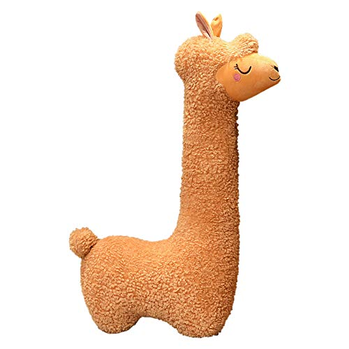 Cute Plush Dolls Soft Toy, Stuffed Animal Plushies, Kawaii Long Neck Alpaca Lovely Toy, Warm Plush Pillow for Bed, Great Livingroom Sofa Decor Ornament, Kids Adults Gifts for Birthday (29.5' Brown)