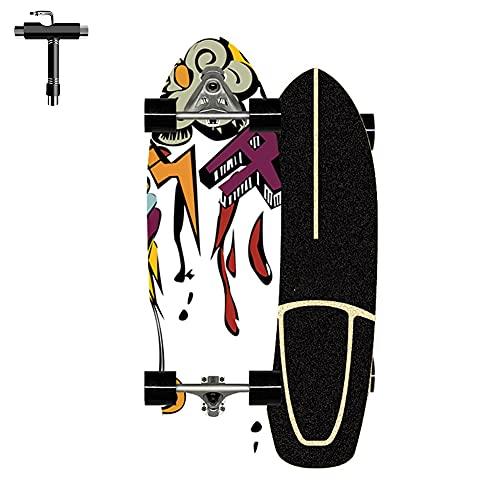 ZBYL Pro Skateboard Monopatin Completa para Principiantes 7 Capas de Arce de Nivel Surfskate Carver para niños Adolescentes cóncavaestándar y patinetas de Trucos con rodamientos ABEC-7, 76×24CM