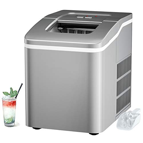 RELAX4LIFE Eiswürfelmaschine Tragbar 1,6 L, Ice Maker 9 Eiswürfel in 8 min, Eiswürfelbereiter 12 kg pro Tag, leise Eismaschine mit Selbstreinigungsfunktion, inkl. Schaufel, für Zuhause, Bar (Silber)