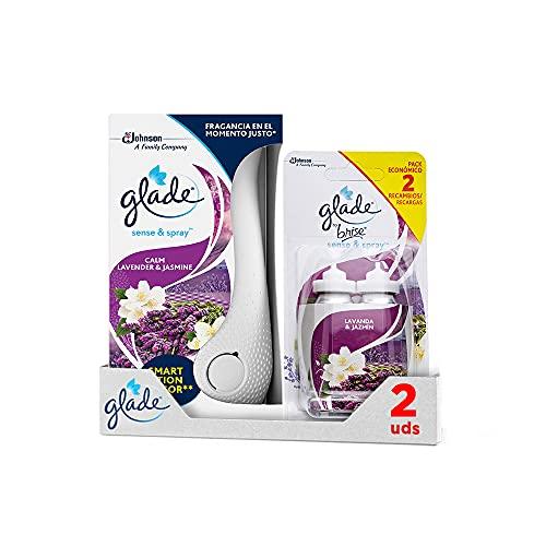 GLADE Ambientador Automático Sense & Spray Con Sensor De Movimiento, Fragancia Lavanda, Pack Difusor + 3 Recambios, 300 g