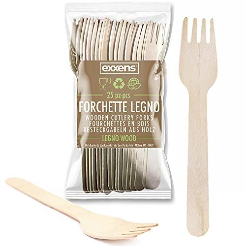 Forchette Biodegradabili, Posate USA e Getta, No plastica, Compostabili in Legno, 25pz (Forchette)