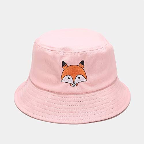 Pescador sombrero de doble cara, la novedad del sombrero del cubo, la UPF 50+ verano del sombrero del cubo del sombrero de Sun Animal bordado sombrero al aire libre plegable Cuenca ( Color : Pink )