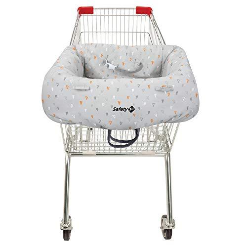 Safety 1st Einkaufswagen-Hygieneschutz für das Kind, Haltegurt für optimale Sicherheit, platzsparend in der Transporttasche verstaubar, grau