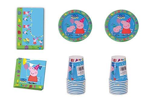 Lote de Cubiertos Infantiles'Peppa Pig' (8 Vasos, 8 Platos,20 Servilletas y 1 Mantel .Vajillas. Juguetes y Regalos Baratos para Fiestas de Cumpleaños, Bodas, Bautizos y Comuniones.