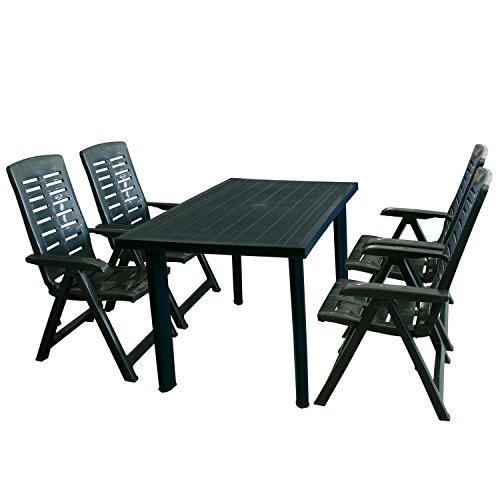 Multistore 2002 5tlg Gartenmöbel-Set Gartentisch, 125x75cm, Sonnenschirmöffnung + 4X Klappstuhl Yuma - Kunststoff, Grün